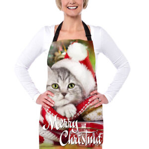 Christmas Apron Dress Waist Aprons Home Kitchen Cooking Women Adult Party baking