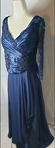 Terani Couture Royal Blue Formal Dress With Beaded Sequin Detail And Pleated...