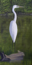 """""""Egret in a pond"""" original oil on stretched canvas, 10 x 20 by John Marcum"""