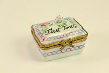 New ListingVtg Eximious Limoges Porcelain First Tooth Trinket Box Peint Mein Signed France