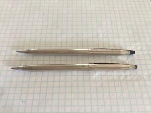 Vintage Cross Sterling Silver Ballpoint Pen & Mechanical Pencil Set - Dinged