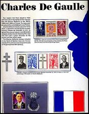 CHARLES DEGAULLE Display Stamp Sheet W/Degaulle Commemoratives