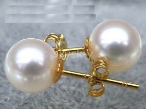 Match perfect round AAA++ 9.5-10mm white akoya sea pearl earring 14k yellow gold
