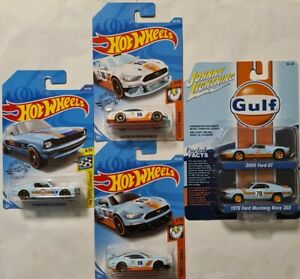 HOT WHEELS + JOHNNY LIGHTNING SET OF 5 FORD GULF RACING MUSTANG + 2005 FORD GT