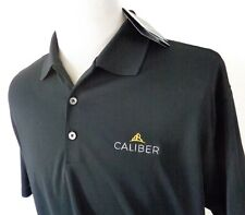 Nike Golf Dri Fit Large Polo Shirt Solid Black Breathable Mesh SS Caliber Logo