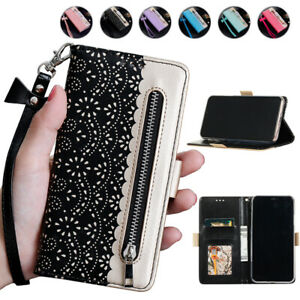 Patterned Wallet Case Card Zipper Flip Cover for iPhone 12 11 Pro Max XR XS SE 8