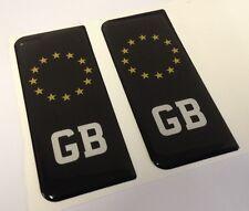 2x BLACK GB Euro Great Britain Gel 3D Number Plate Side Badge Badges Stickers