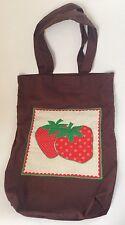 Vintage Handmade Tote Bag Strawberries Quilted Early 1980s Ooak