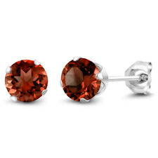 January Birthstone Genuine Red Garnet 925 Silver Stud Earrings 2.00ctw 6mm Each