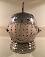 "Vtg Medieval Knights Helmet Bar Set Music Box 4 Shot Glasses ""How Dry I Am"""