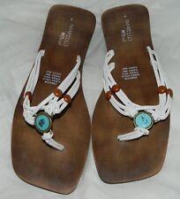 AMARELLO Brazil Faux Wood Embellished Flip Flops Size 9