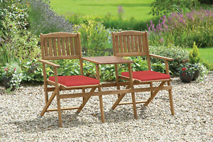 Wooden Garden Foldable 2 Seater Duo Bench and table, complete with cushions