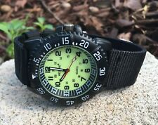 Men's Military Diver Style Luminous Dial Analog Round Watch Black Nylon Strap