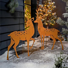 Deko-Figuren-Set 2-tlg. XXL-Hirsch-Paar Rost-Look Metall Weihnachtsdeko Garten