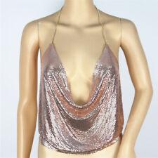 Women Halter Chain Sleeveless Top Sequin Bling Vest Tank Strapless Backless