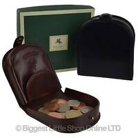 NEW Mens Classic LEATHER Tabbed Coin Tray by Visconti Monza Collection Gift Box