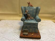 Collectible Danbury Mint Porcelain Figurine Cute Cats! Easy Chair