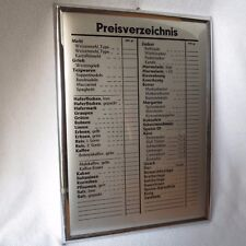 altes Preisverzeichnis Tante Emma abwaschbare Preistafel Karte Preisliste RAR!