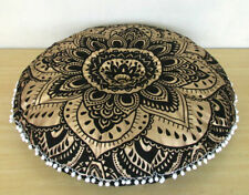 "Gold Color Beautiful Design Flower Mandala 32"" Inch Round Cushion Cover Floor"