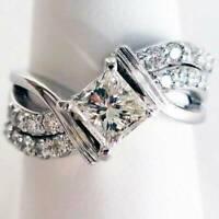 Luxury White 925 Silver Sapphire Ring Women Fashion Jewelry Wedding Rings Gift