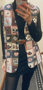 Vintage Waist Coat Gillet Handmade Quilted Padded 1980 Embrodiered Long Jacket