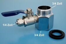 """Wasseranschluss Adapter + Absperrhahn 3/4"""" Osmoseanlage Wasserfilter Kühlschrank"""