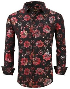 Mens PREMIERE Long Sleeve Button Up Dress Shirt SILKY BLACK FLORAL ROSES 103 NWT