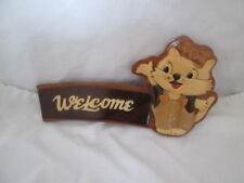 Wood Carved WELCOME Cat Kitten Wall Hanging Plaque Sign / Stand Up Desk Decor