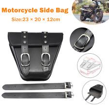 Retro Motorcycle PU Side Package Saddle Bag Storage Hanging Organizer Bag Black