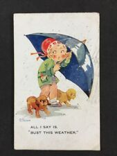 Vintage Postcard: Comic Artist Signed #A377: Agnes Richardson: Bust This Weather