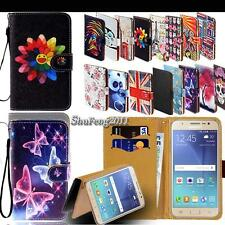 Leather Stand Folio Wallet Cover Phone Case For Various Samsung Galaxy Models