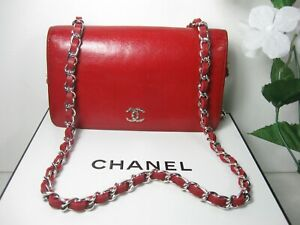 Authentic Chanel Red Calfskin Leather CC Logo Full Flap Clutch Bag
