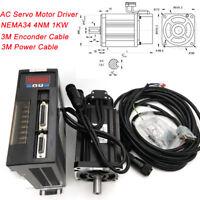 1000W AC Servo Motor Kit 4NM NEMA34 RS485 Driver CW/CCW 3M Cable for CNC Milling