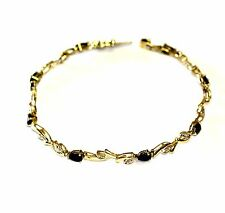 10k yellow gold diamond .02ct SI2 H sapphire tennis bracelet 4.7g estate vintage