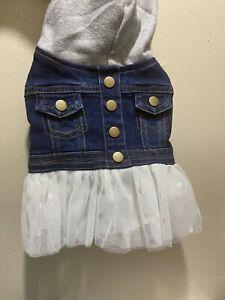 Top Paw Blue Denim Jean Jacket Hoodie Fluffy Tulle White Skirt Dog Dress Coat S