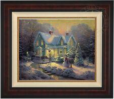 "Thomas Kinkade BLESSING OF CHRISTMAS 20"" x 24"" LE S/N Canvas (Burl Frame)"