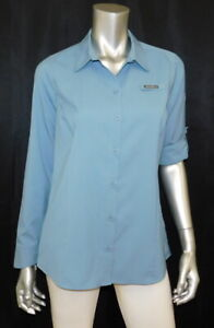 EDDIE BAUER NEW Blue Button Tab Sleeve Free-Dry UPF 50 Water Guide Shirt sz S