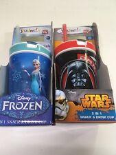 Snackeez Jr Disney Frozen Elsa & Darth Vader 2 in 1 Snack & Drink Lot Of 2