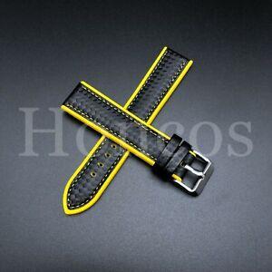 20 MM Yellow Rubber Strap Band Replacement Black Carbon Fiber 2021 Vintage Sport
