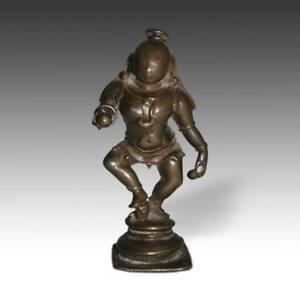 ANTIQUE BRASS PILGRIMAGE FIGURE KRISHNA ALTAR INDIA HINDUISM 19TH CENTURY
