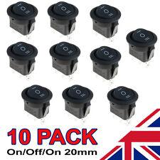 10 x On/Off/On Black Round Rocker Switch Car Automotive 20mm SPDT 2 Way Dash
