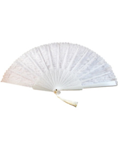 White Lace Fan with Tassel