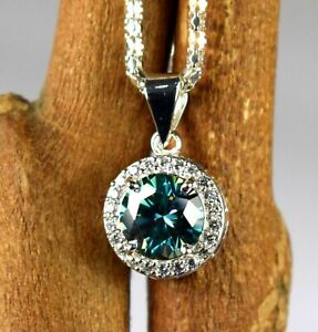 Engagement Gift 5.97 Ct Green Diamond Solitaire Round Pendant With Accents