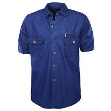 Camisa de hombre Vaqueros Bolsillo 100 % Algodón Confort Denim Azul Mitad