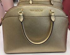 Michael Kors EMMY Cindy Saffiano Leather Large Dome Satchel Handbag( Gold )