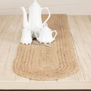 "VHC Brands Farmhouse 72""x13"" Table Runner Tan Natural Jute Kitchen Table Decor"