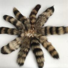 2pc Black Brown Real American Raccoon Fur Tail Keychain Tassel bag charm Keyring