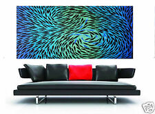 "Large Landscape original Modern Art Painting Fish aqua blue 71"" By Jane"