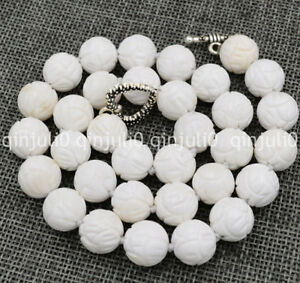 """12mm white Carving coral gems Tridacna Necklace 18"""" Tibetan silver love clasp"""