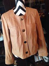 Tory Burch Beige/Tan/Camel Genuine Leather Jacket Womens Size 8